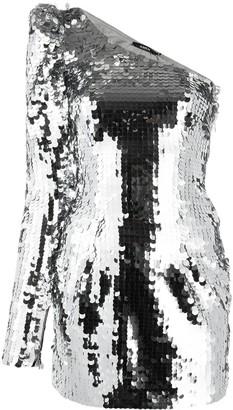 Amen One-Shoulder Sequin Disc Mini Dress