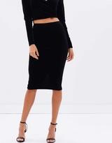 Bardot Velour Midi Skirt
