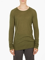 Haider Ackermann Green Long-Sleeved Ribbed T-Shirt
