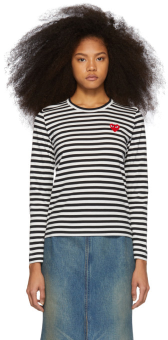 Comme des Garcons Black and White Striped Heart Patch Long Sleeve T-Shirt