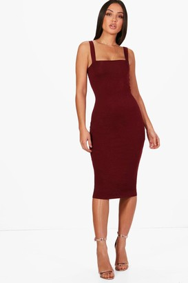 boohoo Square Neck Bodycon Midi Dress