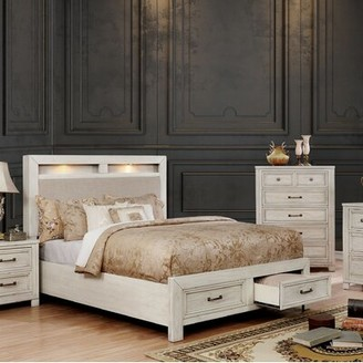 Loon Peak Cuvier Upholstered Storage Platform Bed Color: Antique White, Size: Queen