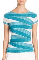Armani Collezioni Short-Sleeve Stripe Knit Top