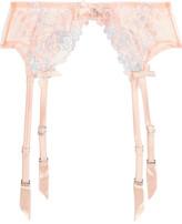 Agent Provocateur Odette Stretch Silk Satin-trimmed Embroidered Tulle Suspender Belt - Peach