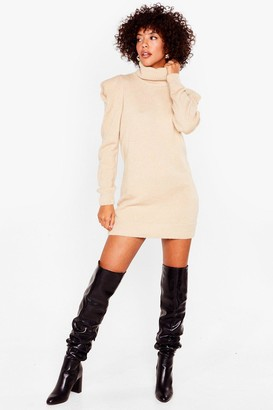 Nasty Gal Womens Shake Knit Up Turtleneck Jumper dress - Beige - S