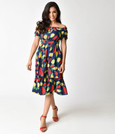 Unique Vintage 1940s Style Navy Pineapple & Watermelon Print Off Shoulder Dress
