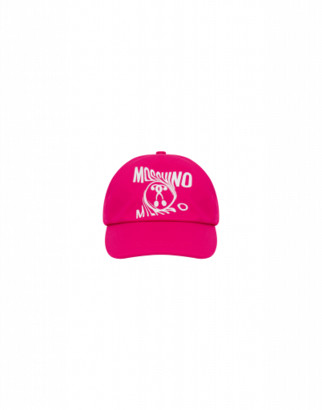 Moschino Distorted Double Question Mark Hat Unisex Fuchsia Size 1.5-3a