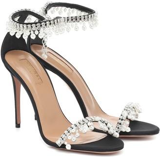 Aquazzura Exquisite 105 embellished satin sandals