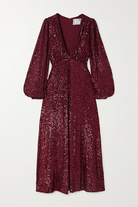 In The Mood For Love Irina Sequined Tulle Midi Dress - Burgundy