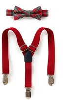 Starting Out Baby Boys Plaid Bow Tie & Solid Suspenders Set