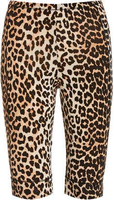 Ganni Leopard-Print Jersey Bicycle Shorts
