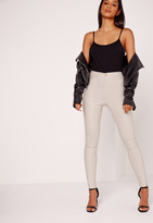 Missguided High Waisted Coated Skinny Jeans Nude