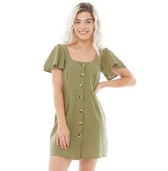 Brave Soul Womens Bel Button Through Short Sleeve Dress Khaki