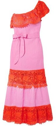 Miguelina Rezina One-shoulder Guipure Lace-trimmed Linen Maxi Dress