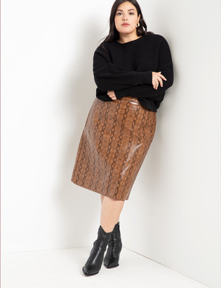 ELOQUII Faux Leather Snake Skirt