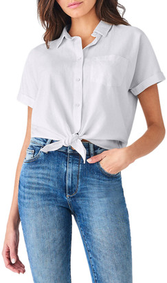 DL1961 Christy Button-Down Short-Sleeve Tie-Front Top