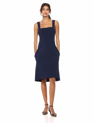 Lark & Ro Women's Sleeveless Square neck A-Line Dress with Pockets