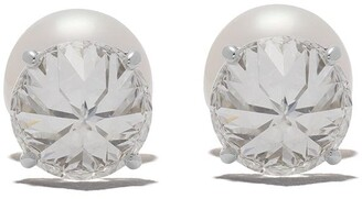 Platinum Refined Rebellion Signature diamond and Akoya pearl earrings