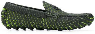 Philipp Plein Slip-On Croc Effect Loafers