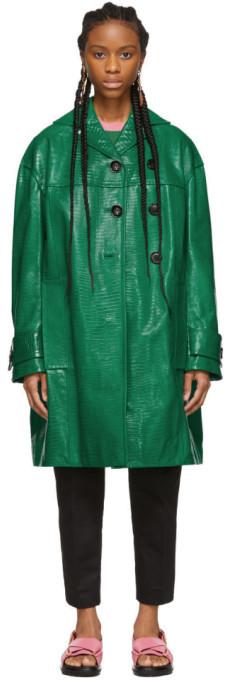 Marni Green Croc Duster Coat