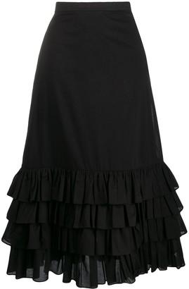 Milla frilled high-rise midi skirt