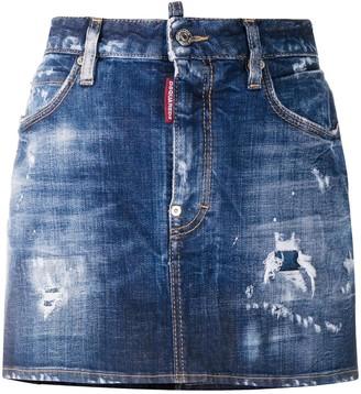 DSQUARED2 Distressed Denim Skirt
