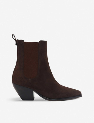 Sandro Raph almond-toe suede ankle boots