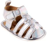 Laura Ashley Silver Metallic Weave Strap Sandal