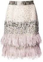 Matthew Williamson Silver Lace Beaded Feather Skirt
