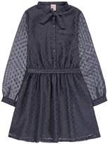 Little Karl Marc John Rivoly Polka Dot Textured Dress With Iridescent Belt