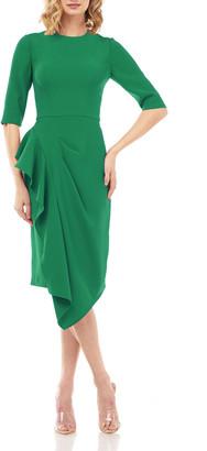 Kay Unger New York Mason Elbow-Sleeve Asymmetric Ruffle Skirt Dress