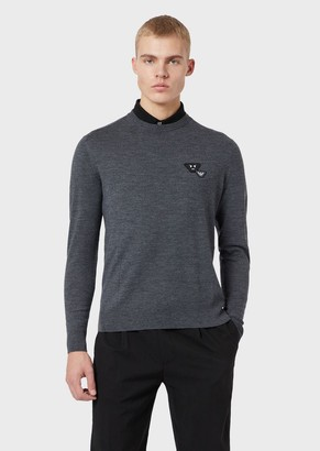 Emporio Armani Pure Virgin Wool Sweater With Emoji Patch