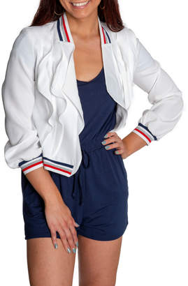 Insight Varsity Stripe Collar Ruffle Front Jacket