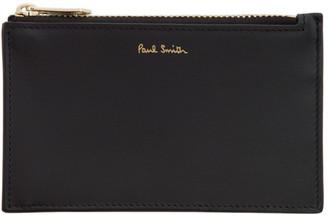 Paul Smith Black Multi Stripe Zip Card Holder