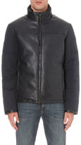 Canali Padded Leather And Shell Bomber Jacket