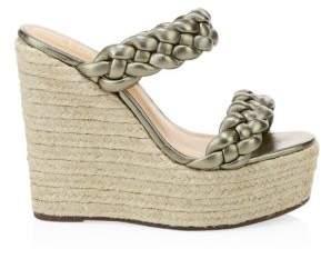 Schutz Women's Dyandre Braided Leather Espadrille Wedge Sandals - Pale Gold - Size 6