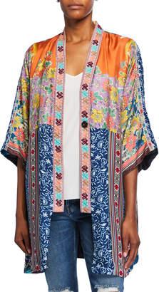 Johnny Was Petite Bianca Reversible Silk Twill Short Kimono