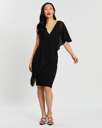 Montique Marsala Knit and Chiffon Dress