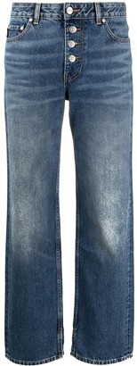 Ganni Washed Denim Straight Leg Jeans