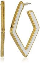 Kenneth Jay Lane Gold and White Enamel Diamond Post Drop Earrings
