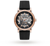 Michael Kors Rose Gold-Tone and Black Silicone Automatic Watch