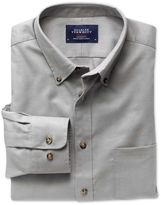 Charles Tyrwhitt Classic Fit Non-Iron Twill Button-Down Collar Grey Cotton Casual Shirt Single Cuff Size Small