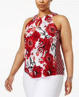INC International Concepts Plus Size Floral-Print Halter Top, Created for Macy's