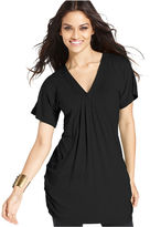 INC International Concepts Top, Short-Sleeve V-Neck Draped Tunic