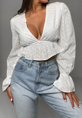 Missguided White Co Ord Broderie Anglaise Plunge Crop Top