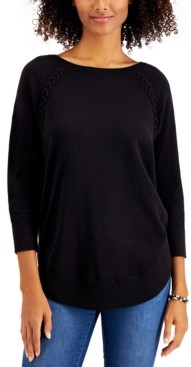 Style&Co. Style & Co Braided Lace-Up Tunic Top, Created for Macy's