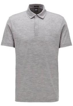 BOSS Striped polo shirt in traceable Italian virgin wool