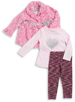 Nannette Girls 2-6x Faux Fur Jacket, Glitter Heart Tee and Leggings Set