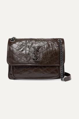 Saint Laurent Niki Medium Quilted Crinkled Glossed-leather Shoulder Bag - Brown