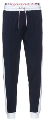 HUGO BOSS Unisex Jogging Pants With Side Stripes And Double Waistband - Dark Blue